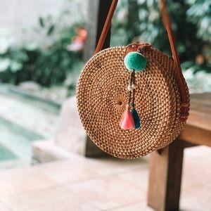 Bali Rattan Bag + 1 Dream Catcher & 1 Pom-Pom